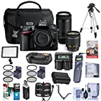 Nikon D7200 DSLR Camera Kit with AF-P DX 18-55mm f/3.5-5.6G VR Lens & AF-P DX 70-300mm f/4.5-6.3G ED Lens - Bundle With 64GB SDHC Card, Spare Battery, Tripod, Video Light, Battery Grip And More