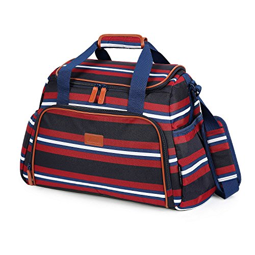 Box Zone Nature (Arctic Zone Insulated Duffel Bag, Tote - Red and Blue Stripes - 7 Piece - Food Container Set)
