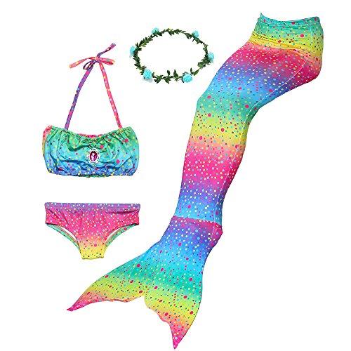 Ubetoone Mermaid Tail Swimmable Costume Swimsuit for Girls Swimming(No Monofin) (Rainbow Mermaid, Child S(3Y-4Y)) -