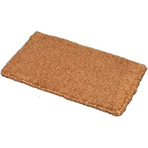 Jvl plain natural coir entrance door mat 45 x 75 cm for Door mats amazon