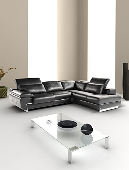 Ju0026M Furniture Oregon-2 Full Black Italian Leather Sectional Sofa With Adjustable Headrests Right Hand : italian leather sectional - Sectionals, Sofas & Couches