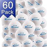 KEVENZ 60-Pack 3-Star 40+ Table Tennis Balls,Advanced Ping Pong Ball (White)