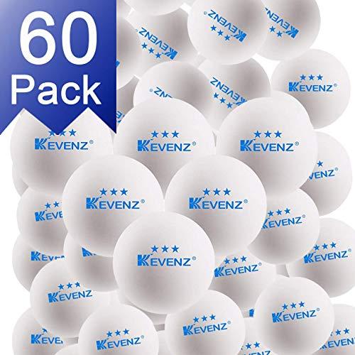 KEVENZ 60-Pack 3-Star Plus 40+mm White Table Tennis Balls,Advanced Training Ping Pong Balls