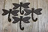 Rustic Country Dragonfly Bath Towel Hooks Powder Coat Brown Cast Iron, 3 1/4 inch tall, H-90, Set of 4