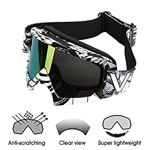 Motorcycle Goggles - ATV Riding Goggles Glasses, Dirt Bike UTV Goggles, Off Road Goggles Glasses, Downhill Goggles, for Men Women Youth (Black, Tinted)