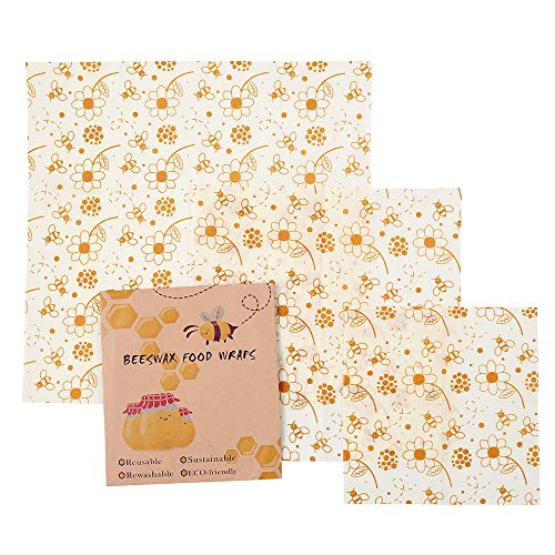 3PCS Premium Beeswax Food Wraps, Reusable Eco Friendly Food Storage, Organic Sandwich & Cheese Food Wrapping Paper by DIOMO (Bee)