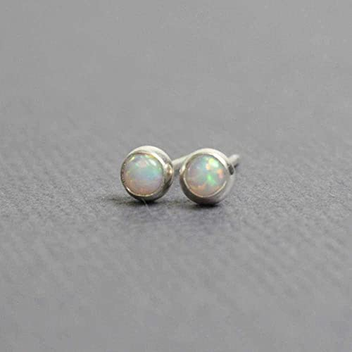 82ba53913 Tiny Opal Stud Earrings, Small 3mm Lab Opal Post Earrings, Sterling Silver