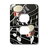 3dRose LLC lsp_38199_6 Red Drums On Music Notes, 2 Plug Outlet Cover