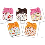 NEW! 5 Girl One Size Snap Reusuable Cloth Diapers + 10 Large Inserts