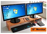 31.5 Inch Very Large Computer Monitor Riser Or Laptop Stand. It Is A Long Sturdy Dual Double Or Multi Desktop Monitor Screen Riser (Brown Color, Height: 5.9')