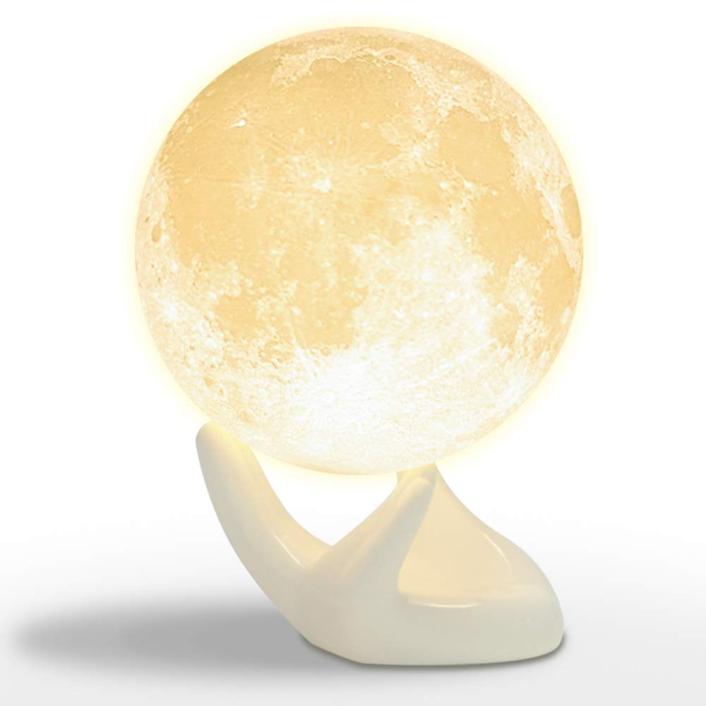 Mydethun Moon Lamp Moon Light Night Light for Kids Gift for Women USB Charging and Touch Control Brightness 3D Printed Warm and Cool White Lunar Lamp (3.5In Moon Light with Ceramic Hand Base)
