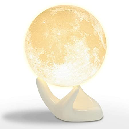 Mydethun Moon Lamp Moon Light Night Light Kids Gift Women USB Charging Touch Control Brightness 3D Printed Warm Cool White Lunar Lamp (3.5IN)