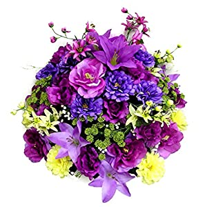 Admired By Nature 40 Stems Artificial Rose, Lily, Zinnia, Queen Anne's Lace Mixed Flower Bush with Greenery for Home, Wedding, Restaurant & office Decoration Arrangement, Violet/Lavender 63
