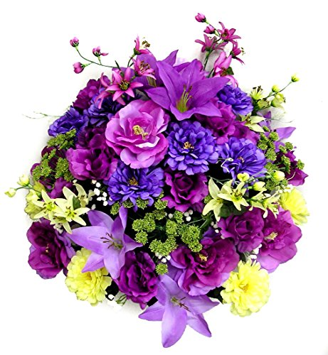 Admired By Nature 40 Stems Artificial Rose, Lily, Zinnia, Queen Anne's Lace Mixed Flower Bush with Greenery for Home, Wedding, Restaurant & office Decoration Arrangement, Violet/Lavender