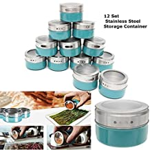 Xiaolanwelc@ 12PCS Magnetic Spice Tin Jars Stainless Steel Seasoning Sauce Storage Container Clear Lid Kitchen Condiment Holder Kitchenware