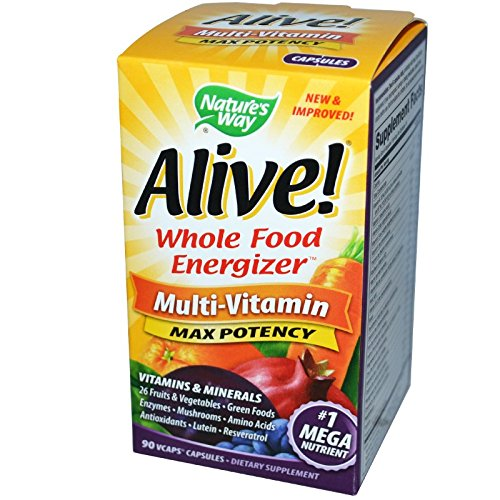 Nature's Way Alive! Whole Food Energizer, Multi-Vitamin with Iron, 90 Veggie Capsules (Iron 90 Vegetable Capsules)