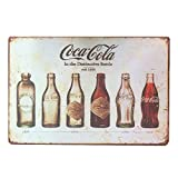 "IPEKOO Coca Cola Bottle Evolution Distressed Retro Vintage Wall Metal Tin Sign (12""x8"")"