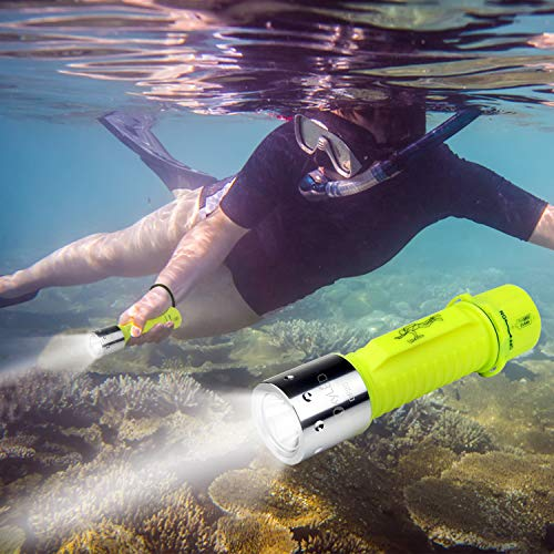OxyLED 1100 Lumen Diving Flashlight, Rechargeable Super Bright Underwater Lighting Submarine Light Scuba Safety Lights Waterproof Under Water Torch Outdoor Under-Water Sports (1-Pack)