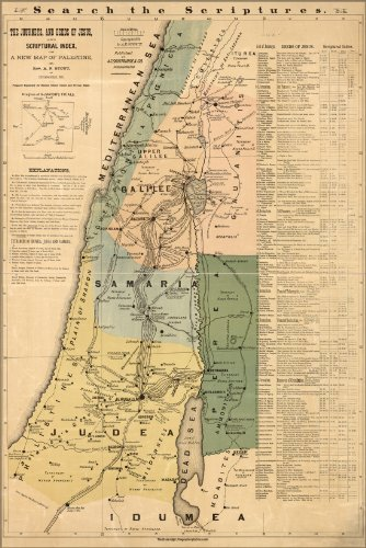 Poster Bible Map Of Jesus In Israel Palestine 1881 Antique Reprint