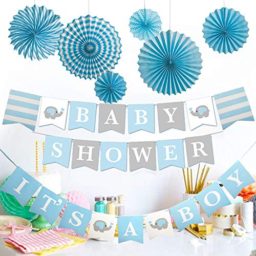 Elephant Baby Shower Party Supplies-It's a Boy Banner with Paper Fan for Boy Birthday Decoration White Blue Grey -