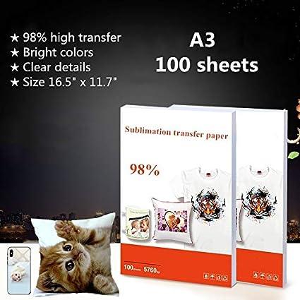 100 hojas de papel de transferencia de sublimación de 16.5 x 11.7 pulgadas, tamaño A3 papel de transferencia para camiseta/taza/funda de ...
