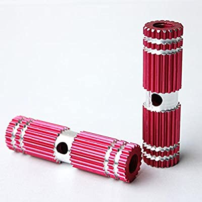 Red Striated Aluminum Alloy Foot Axle Bike Peg for BMX Bikes (Kid-Size)