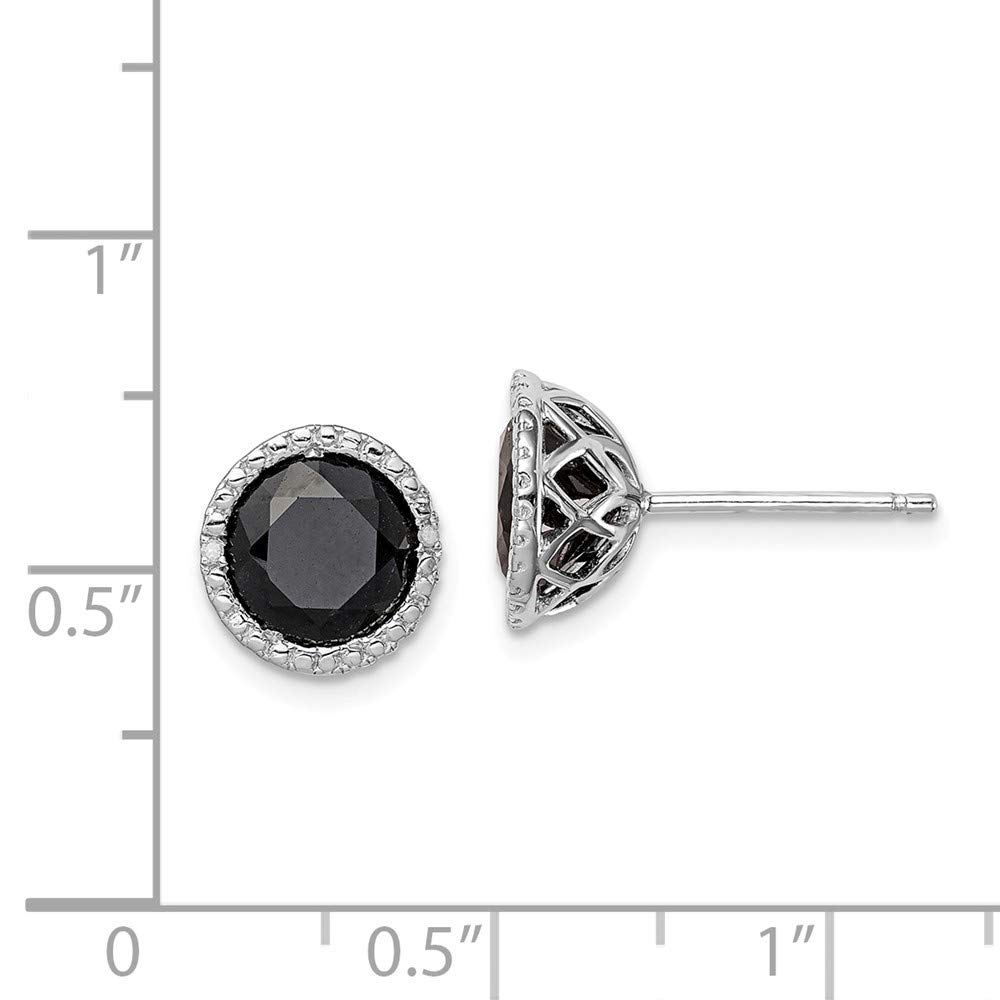 Mia Diamonds 925 Sterling Silver Solid 10mm x 10mm .01cttw Black Sapphire and Diamond Post Earrings