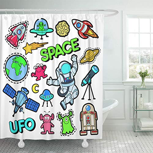 (Semtomn Shower Curtain Patch Badges Space UFO Robots and Funny Aliens Shower Curtains Sets with 12 Hooks 60 x 72 Inches Waterproof Polyester Fabric)