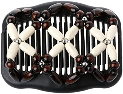 Details about  /Women Magic Wood Hair Double Combs Wooden Beads Clip Stretch Hair Comb New