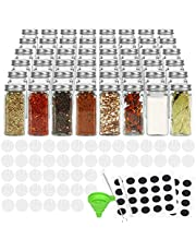 48 Pcs Glass Spice Jars with Spice Labels ,4oz Empty Square Spice Bottles with Shaker Lids and Airtight Metal Caps ,Chalk Marker and Silicone Collapsible Funnel Included