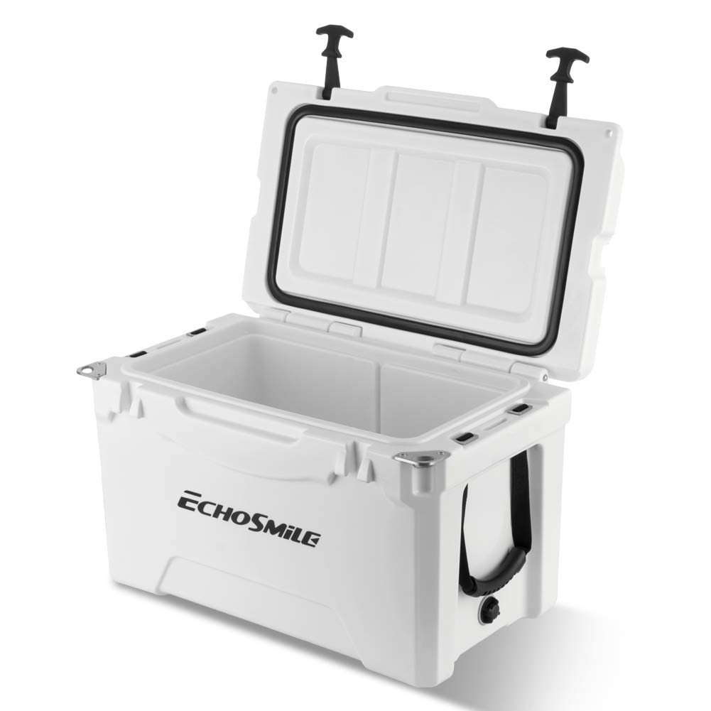 35 Quart Ice Chest Cooler Built-in Bottle Openers, Cup Holder, Insulate Roto Molded Cooler, 5 Day Ice Retention, Lockable Corners Heavy Duty Portable Cooler for Camping, Fishing, and Other Activities