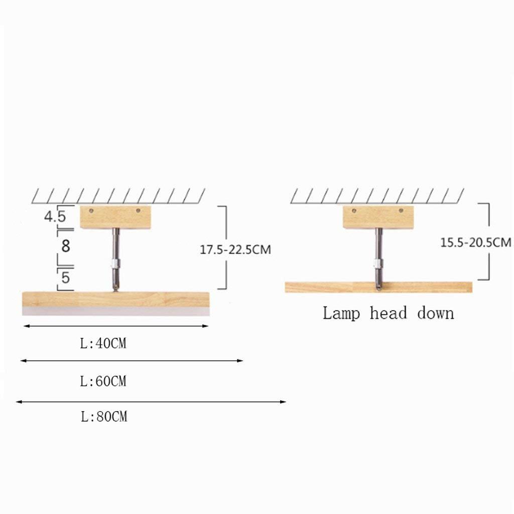 Tama/ño : 60cm Madera maciza n/órdicos Espejo acr/ílico LED Luz delantera ba/ño armario de espejo con luz de l/ámpara de pared de direcci/ón telesc/ópica