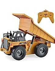Construction Vehicle Truck Toys - 6 Channel Full Function RC Truck Excavator Toy - Remote Control Truck Dump Truck - for Boys Birthday Gift Toy Excavator Truck with LED Light