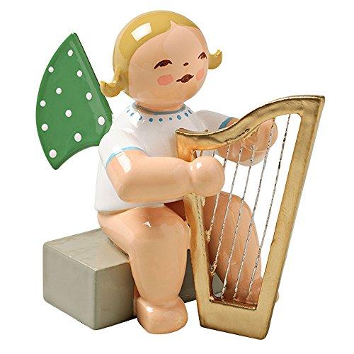 Wendt & Kuhn Blonde Hand Painted Grunhainichen Angel Large Harp Figurine