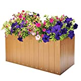 Resin Plastic Wood Raised Patio Garden Flower Planter Bed, Elevated Garden Planter Vegetable Box Windown Planter Box,Teak, 23.6''L x 12.5''W x 11.8''H
