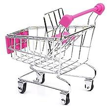 Mini Supermarket Shopping Cart Trolley Toy Home Office Storage Box Children Bird Parrot Pet Toy Birthday Gift Stationary Holder Rose