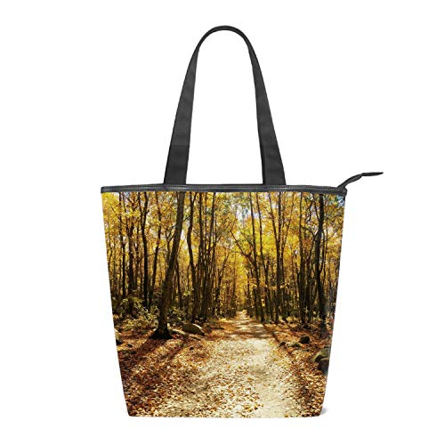 Women's Canvas Zipper Closure Handbag Forest Autumn Trees Trail Foliage Handbags Shoulder Lunch Tote Bag with Large Capacity Best Gifts for Teen Girls