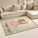Yochoice Non-slip Area Rugs Home Decor, Vinatge Retro Little Girl with Bunny Floor Mat Living Room Bedroom Carpets Doormats 60 x 39 inches