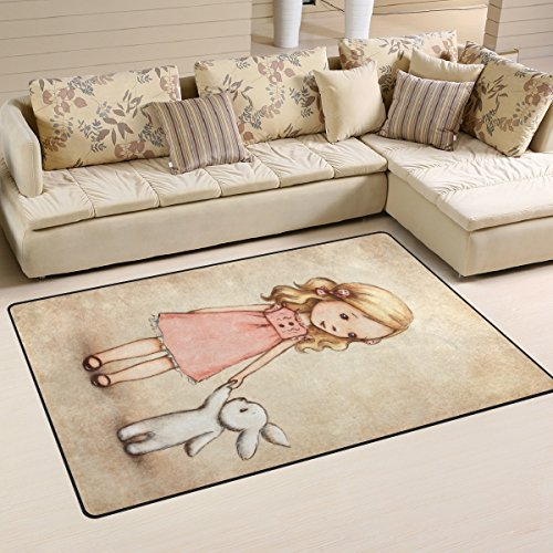 Yochoice Non-slip Area Rugs Home Decor, Vinatge Retro Little Girl with Bunny Floor Mat Living Room Bedroom Carpets Doormats 60 x 39 inches