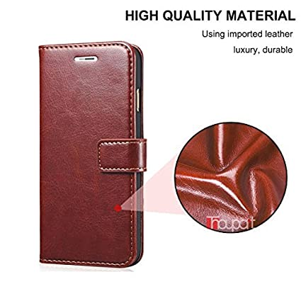 quality design 3278c f3141 Nkarta Leather Wallet Flip Cover For Motorola Moto E4 Plus - Brown