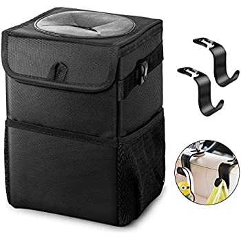 Small PaiTree Upgraded Car Trash Can with Lid and 3 Storage Pocket 1.51Gallon Leakproof Car Garbage Can with Garbage Bag Hook and Adjustable Straps Portable Auto Car Trash Bag Included Two Fix Cord