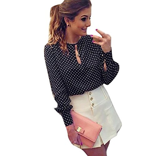 Toraway Blouses, Women Casual Polka Dots Long Sleeve Blouses Chiffon Shirt Tops (X-Large) Black