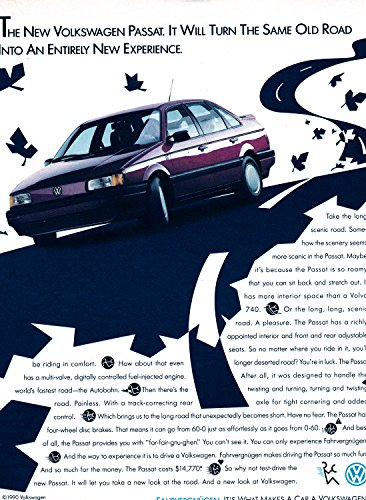 1990 VW Passat Volkswagen Original Magazine Ad-Beetle Bug Auto Car-Fahrvergnugen
