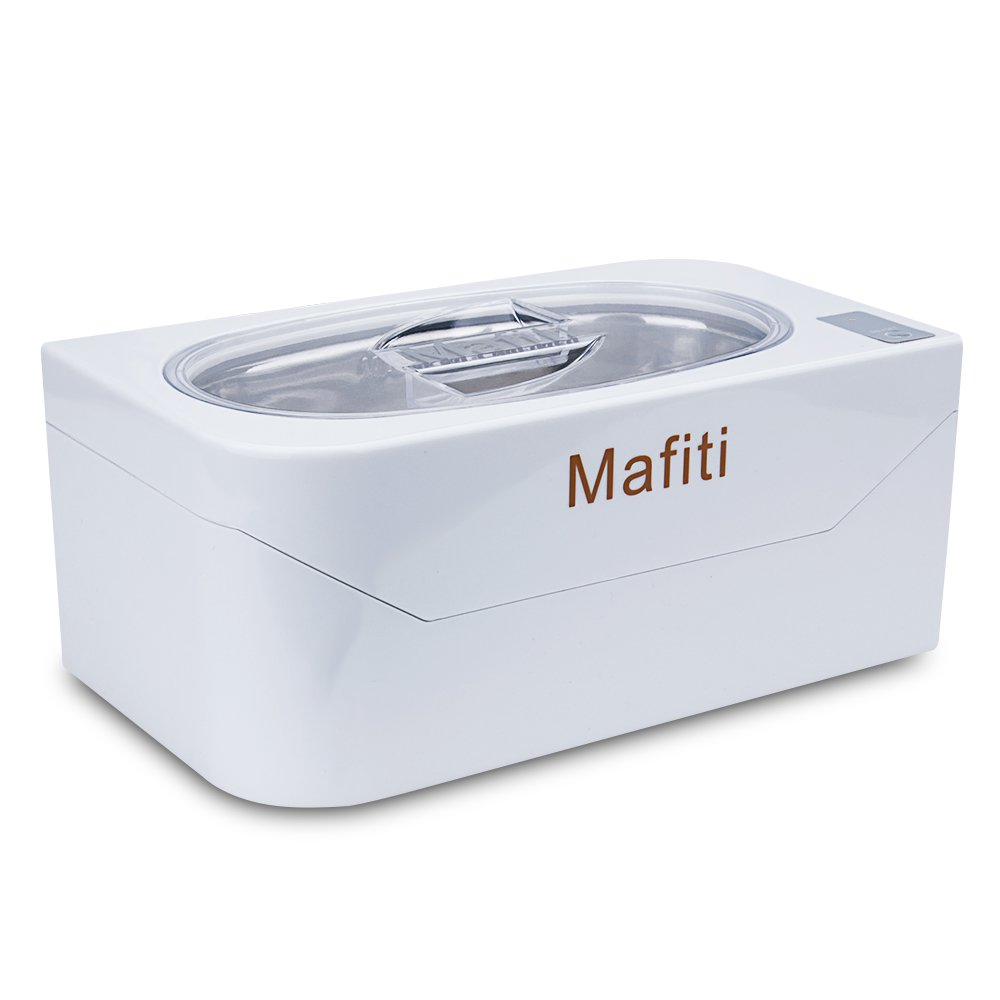mafiti Ultrasonic Jewelry Cleaner Machine 400ml(13 oz) Small Household Cleaning Eyeglasses, Rings, Dentures Necklaces Watches Coins Mini Portable White
