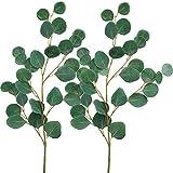 Supla 2 PCS Faux Eucalyptus Spray 33'' Tall in Green Fake Eucalyptus Leaves Bush for  Holiday Greens Wedding Greenery