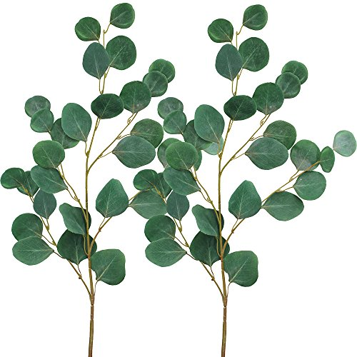 Supla 2 PCS Faux Eucalyptus Spray 33'' Tall in Green Fake Eucalyptus Leaves Bush for  Holiday Greens Wedding Greenery by Supla