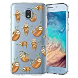 Unov Case Compatible with Galaxy J3 2018 Clear Design Slim Protective Soft TPU Bumper Embossed Pattern Cover Galaxy J3 Achieve J3 Star Express/Amp Prime 3 J3 V 3rd Gen (Hanging Sloth)