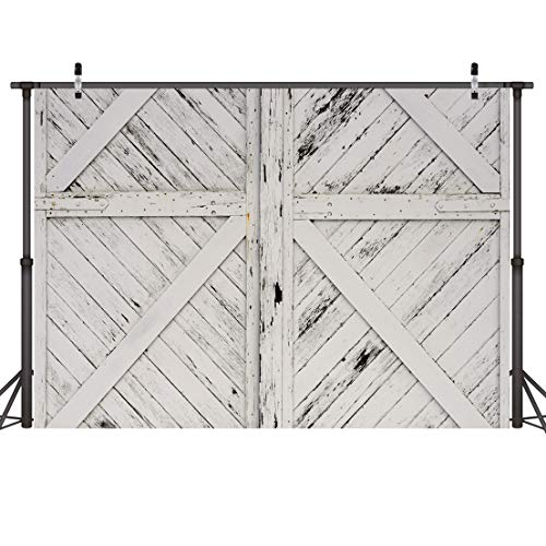 CYLYH Rustic Barn Door Backdrops for Photography 7x5ft Vinyl Vintage White Wood Door Photo Backdrop for Kids Newborn Baby Shower Birthday Party Photo Booth Background 110 -