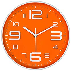 45Min 10-Inch 3D Number Dial Face Modern Wall Clock, Silent Non-Ticking Round Home Decor Wall Clock with Arabic Numerals, 7 Colors(Orange)
