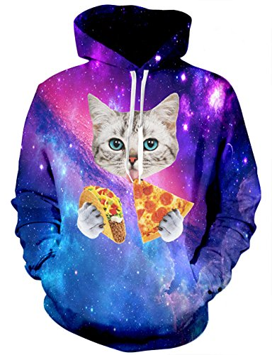 RAISEVERN Cat Pizza Tacos Print Long Sleeve Pullover Hooded Sweatshirt Women,Alien Cat,Small